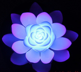 Wholesale Colorful Artificial Flowers - AAA Quality Artificial Silk LED Floating Lotus Flower With Colorful Changed Light For Wedding Party Decorations Supplies
