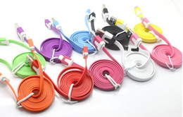 Wholesale Usb Data Cables China - 10pcs lot 2M colorful Noodle flat V8 micro usb data charger cable for Samsung&htc& nokia etc + China post office Free Shipping