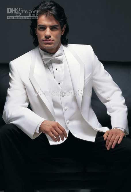 New Style White Jacket Black Pants Groom Tuxedos Groomsmen Best ...