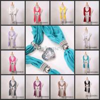 Wholesale Wholesale Scarfs Necklaces - Wholesale - 2012New Heart Pendant Scarf Jewelry Scarves Pendant Necklace Scarves Colors Mix Scarf Accessories
