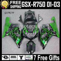 Wholesale Custom Suzuki Gsxr Fairings - 7gifts+CowlFits 01 02 03 SUZUKI K1 GSX-R750 green flames black GSXR750 2001 2002 2003 GSXR 750 MT#1A56 GSX R750 Free Custom green Fairing