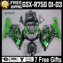 Wholesale Suzuki Gsxr Fairings Green - 7gifts+CowlFits 01 02 03 SUZUKI K1 GSX-R750 green flames black GSXR750 2001 2002 2003 GSXR 750 MT#1A56 GSX R750 Free Custom green Fairing
