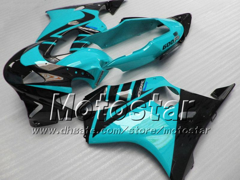 7 Gifts for honda CBR 600 abs fairings 1999 CBR600 F4 2000 CBR600F4 99 00 fairing kit glossy black with water blue bodywork