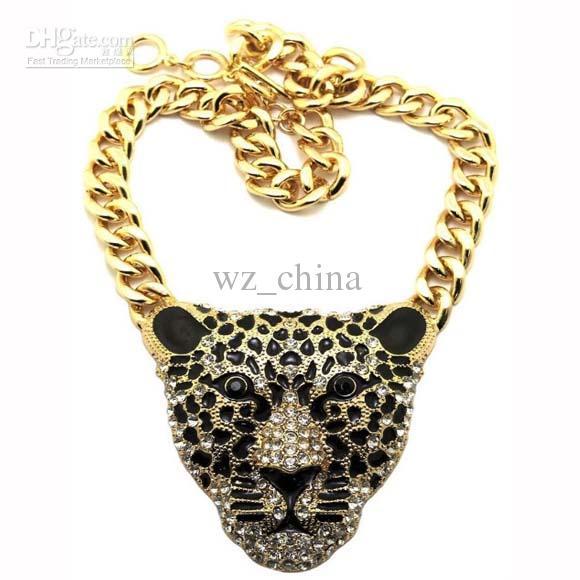 Chunky Luxus Vergoldet Link strass leopard Kopf Halsband Halskette 1 stücke 16