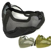 ingrosso rete nera nera-Spedizione gratuita Generation 2 Half Face Metal Net Mesh Protect Mask Airsoft Hunting Verde grigio nero