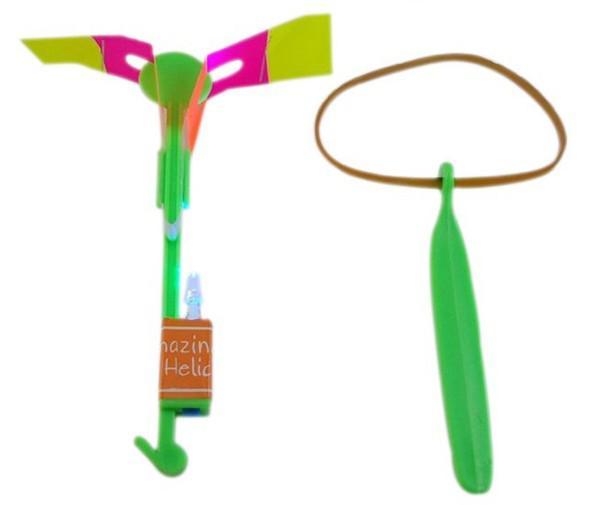 50 unids * catapulta de banda de goma LED Flying Gyro las flechas helicóptero vuelo paraguas niños juguetes