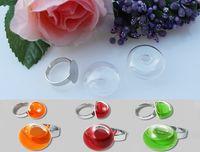 Wholesale Glass Globe Ball Ring Wholesale - 20SETS lot 24X24MM Flat Bubble Liquid Rings Glass ball rings glass marble rings Glass Globe Bubble Vial rings