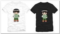 anime gedruckt sport großhandel-Freier Verschiffendetail-Sommer trägt T-Shirt Anime naruto Charakter Felsen Lee zum Ausdruck, der T-Shirt Oberseiten-T-Shirt 100% Baumwolle 2 Art druckt