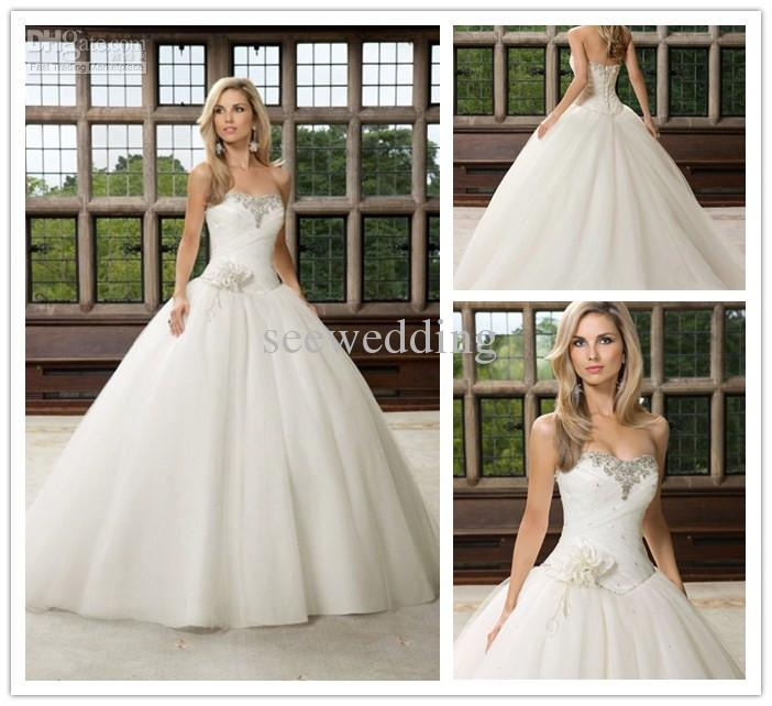 Glittering Princess Wedding Dresses Strapless Crystal Beaded Ruched ...