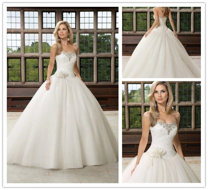 Glittering Princess Wedding Dresses Strapless Crystal Beaded