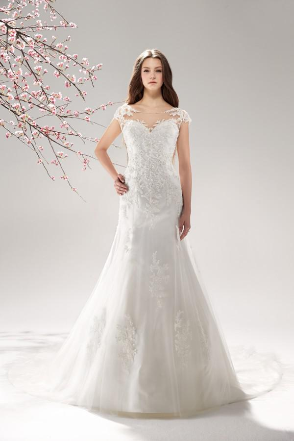 Hot Sale White Sheer Neckline Caped Sleeve Lace Embellishment Sheath Wedding Dress Classical Bridal Gown