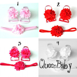 Wholesale Chiffon Sandals - Baby Barefoot Sandals with Single Shabby Chiffon Flower and thin Elastic Nylon Headband Photography Props 120set lot QueenBaby