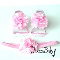 Wholesale Thin Elastic Baby Headbands - Baby Headband Matching Baby Barefoot Sandals Satin Flower Matching thin Elastic Headband Luxe Headband 20set lot QueenBaby