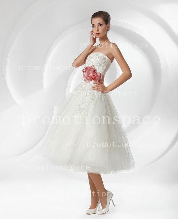 Summer beach charming white tea length strapless sleeveless applique sequins handmade flower red sash tulles A line wedding dresses BO1965