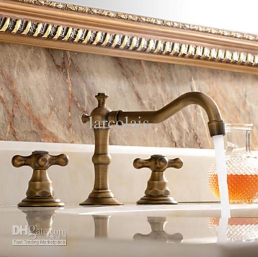 Faucet Sets Antique Brass Water Tap Double Handle Widespread Tap ...