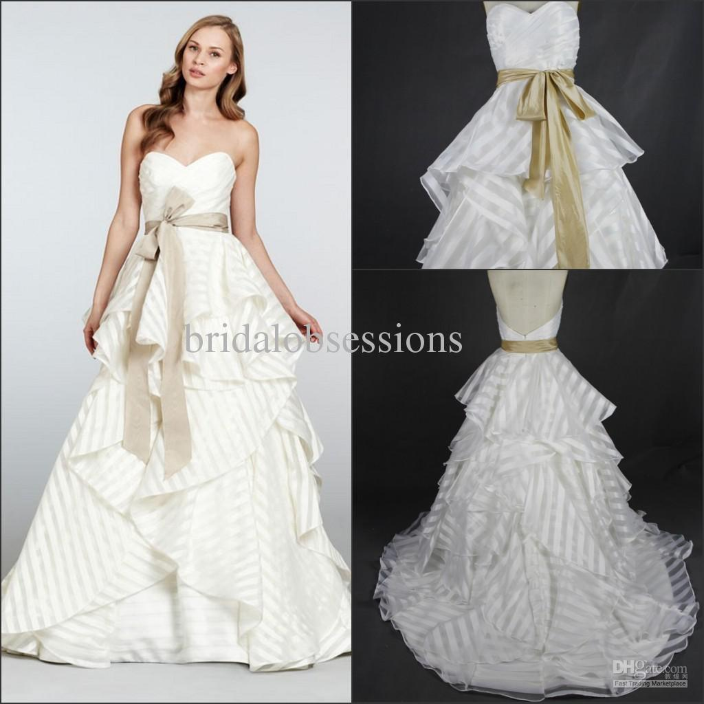 Discount Sweetheart Striped Organza Wedding Dress Sweep Train With ...
