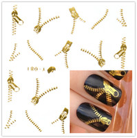 Wholesale Nail Art Zip - NAIL ART WATER TRANSFERS STICKERS DECALS METALLIC GOLD silver FUNKY ZIPPER ZIPS