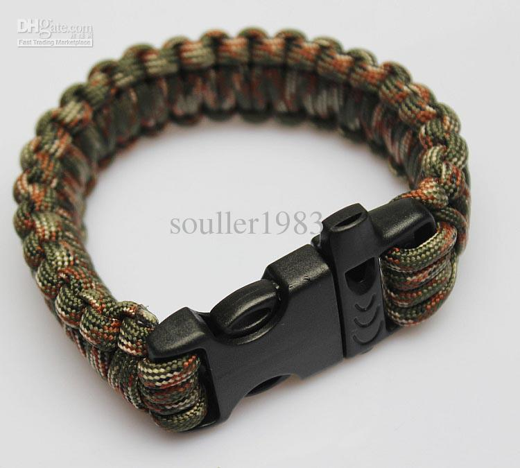 Brand new Outdoor Tactical Airsoft War Game Lifesaving Bracelet Bangle Hand Chain with Survival Whistle