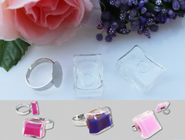 Wholesale 25mm Square Ring - 20sets lot 25*25MM Square Liquid Rings glass marble rings Glass Globe Bottle Rings Glass ball rings