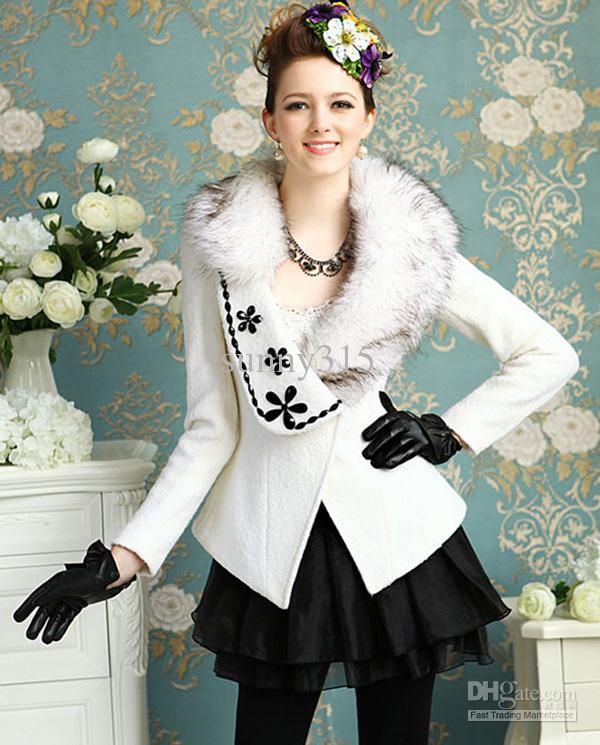 Elegante nuevas mujeres un botón túnica chaqueta de solapa de lana blanca chaqueta señoras del grano delgado abrigo ropa de abrigo con cuello de piel