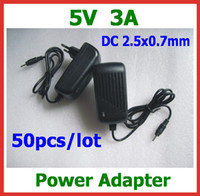 Wholesale Sanei Quad Wholesale - 50pcs 5V 3A Power Adapter Supply DC 2.5x0.7mm Charger for Quad Core Tablet PC Sanei N10 Ampe A10 Ainol Hero II Spark Firewire Eternal PD80