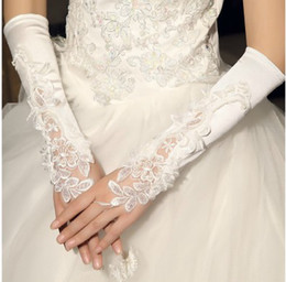 Wholesale Ivory Satin Wedding Fingerless Gloves - In Stock Cheap Elbow Length Bridal Gloves for Wedding Ivory Lace Applique Fingerless Gloves Hot Sale