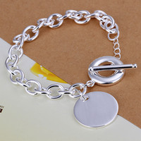 Wholesale Charming Lovely Girls - Mix 32 Styles Fashion 925 Silver Links Chain Bracelets Jewelry Woman Girl Lady Lovely Silver Round Pendant Charm Bracelets Birthday Gift