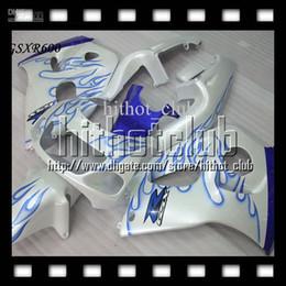 Wholesale 98 Gsxr Fairings - Pearl White For SUZUKI GSX-R600 96-00 GSX R600 GSXR600 C#3316 96 97 98 blue flames 99 00 GSXR 600 1996 1997 1998 1999 Customized Fairing