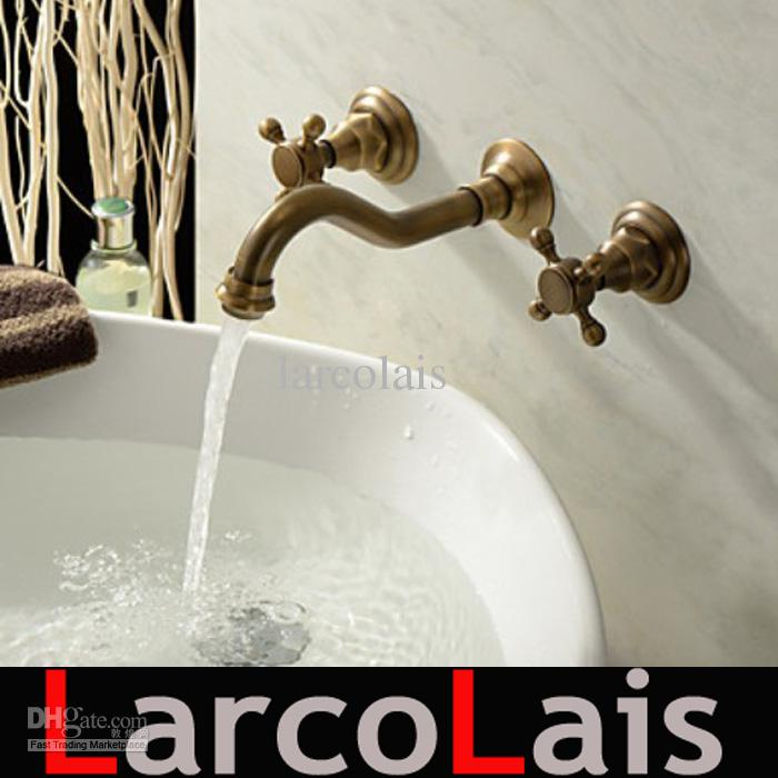 3pcs faucet sets antique brass double handle widespread wall mounted bathroom tap basin sink mixer tap faucets
