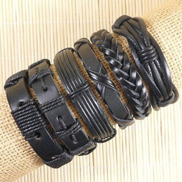 Free shipping vintage bracelet pulseira masculina Wholesale (6pcs lot) genuine ethnic tribal adjustable friendship leather bracelet men-D111