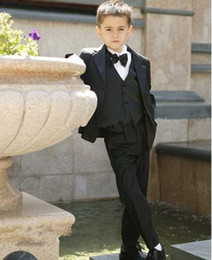 Wholesale Cheap Black Boys Suit - Cheap Hot Sales 2015 Kid Complete Designer Boy Wedding Suit Boys' Attire Custom-made (Jacket+Pants+Tie+Vest)