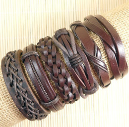 Wholesale Genuine Leather Bracelets - Free shipping latest charming colorful Wholesale (6pcs lot) genuine ethnic tribal adjustable leather bracelets for Unisex-D86