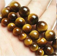 Wholesale Yellow Agate Gemstone Beads - African Roar Tiger's Eye Round Loose Beads Yellow Tiger Eye Spacer Gemstone Bead 6 8 10 12mm