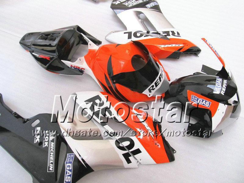 7Geschenke für HONDA CBR1000RR Verkleidungen Karosserie 04 05 CBR 1000RR Verkleidungsset 2004 2005 schwarz glänzend silber orange Repsol si115