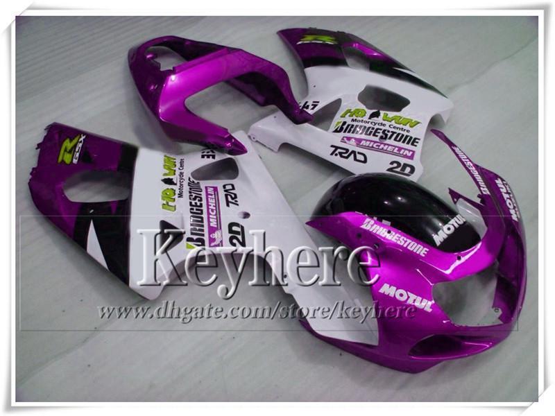 Hoogwaardige paars wit lichaamswerkzaamheden voor SUZUKI 2001 2002 2003 GSX R600 / 750 01 02 03 K1 GSXR 600 750 Fairing Body Kit met 7 geschenken GY71