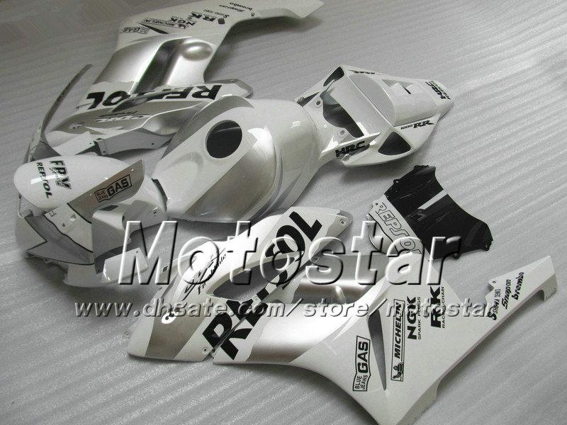 7 Geschenke für Honda CBR1000RR-Verkleidung Bodywork 04 05 CBR 1000RR-Verkleidungsset 2004 2005 Glossy White Silber Repsol SI120