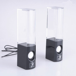 Wholesale Led Dancing Water Fountain Speakers - Dancing Water Speaker Colorful a pair led usb Music Fountain Speaker Soundbox Boombox for MP3  Mobile Phones  Computer Black White