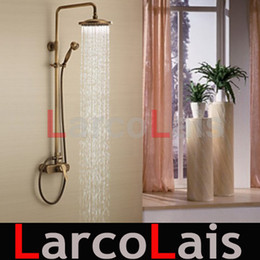 Wholesale Antique Brass Faucet Shower - Water Tap Bathroom Mixer Tap Antique Brass Tub Shower Faucet with 8 inch Shower Head + Hand Shower