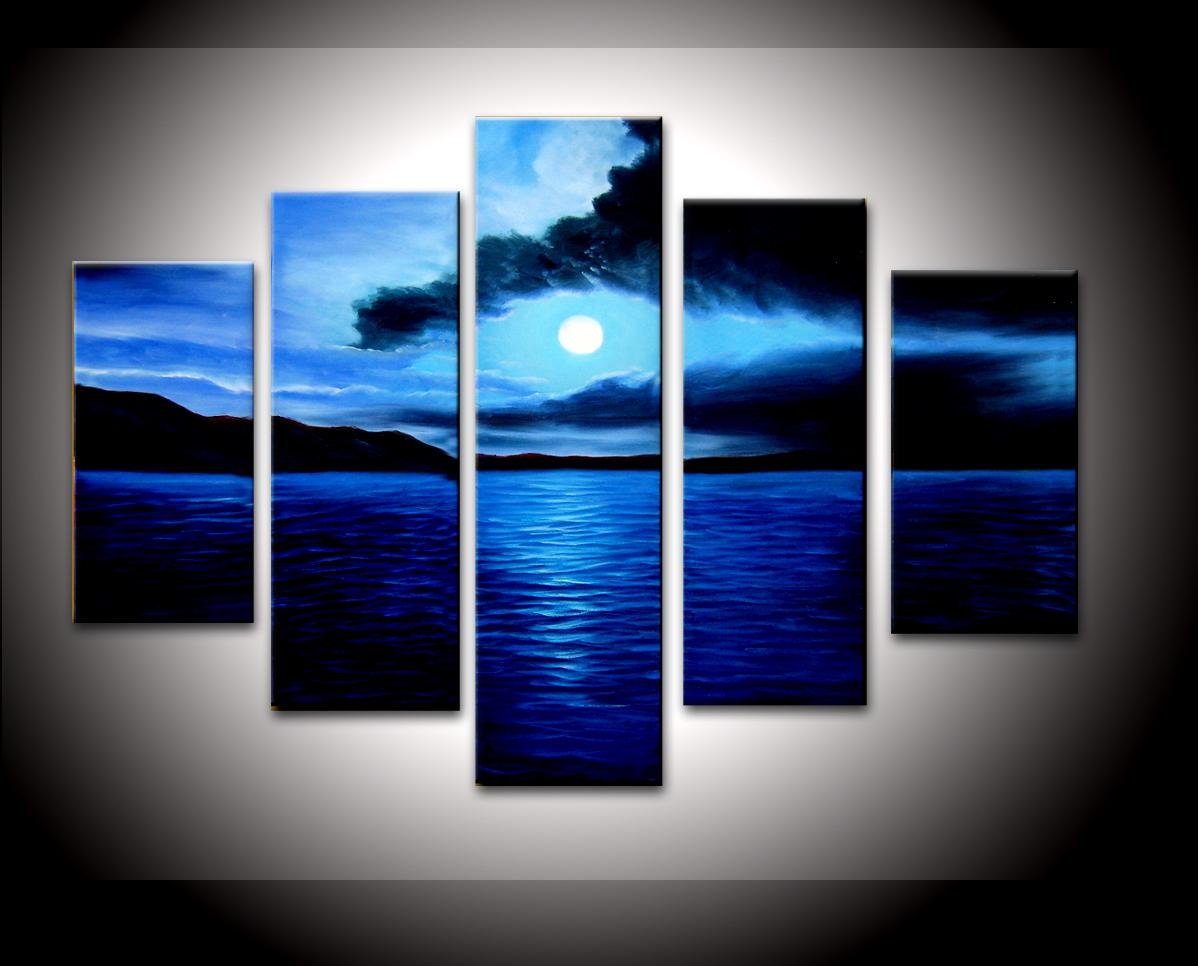 Hand Painted wall art Abstact Sand clouds Blue ocean Oil Painting on canvas 5pcs/set mixorde Framed