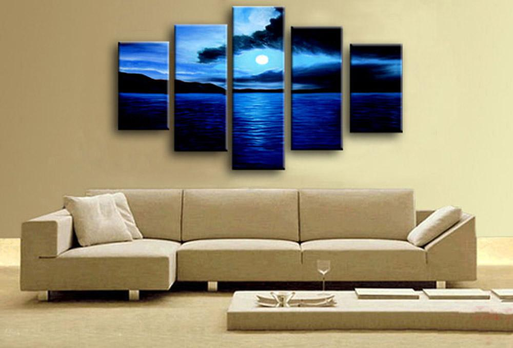 Hand Painted wall art Abstact Sand clouds Blue ocean Oil Painting on canvas mixorde Framed