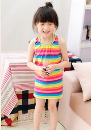 Wholesale Girls Korean Striped Dress - 2-7t Girls Summer Cotton Rainbow Striped Sleeveless Dresses Girls Korean style Dress 5pcs lot free shipping