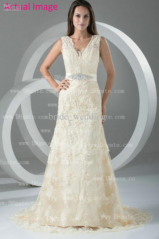 Beige V Neck Vintage Wedding Dresses Lace Applique Bridal Gowns A