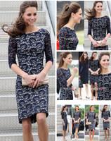 Wholesale Zipper Knee Leggings - Blue Kate Middleton Lace Dress Lady Elegance Leggings Slim Dresses Office lady Clothing Women Clothing Half Sleeve Dresses
