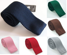 Wholesale Solid Knitted Neck Tie Woven - Men's Solid Color Knitted Necktie Neck Ties Navy Blue Woven Jacquard Knit Neck Ties Fashion Accessories Free Shipping 2 PCS