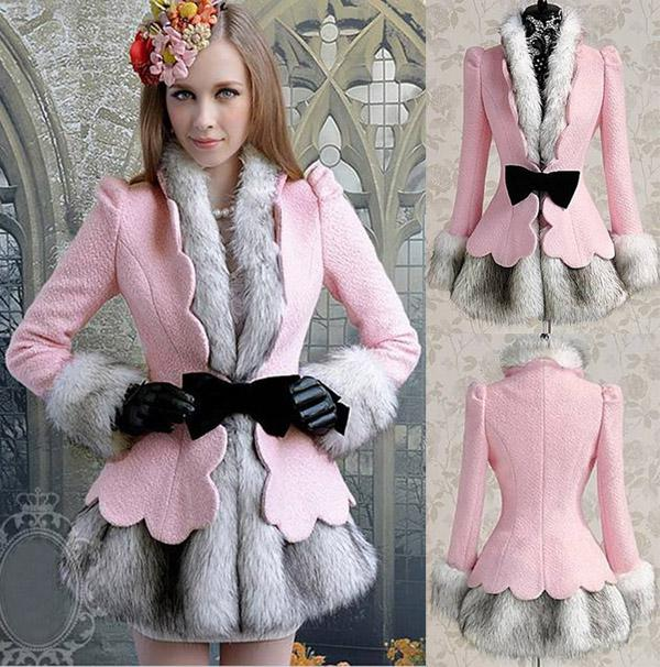 2017 New Arrival Women Princess Pink Wool Coat Overcoat Plus Size ...