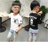 Wholesale Skull Printed T Shirt Child - Wholesale - Fashion Casual Tops Long Sleeve T Shirt Children Activewear Boys Skull Printed Shirts Kids Clothing