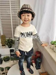 Wholesale korean kids shirt wholesale - Wholesale - New Spring Korean Boys Letter Stripe Round Neck Long Sleeve T-shirt Kids Tops Orange white 5222