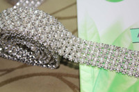 Wholesale Deco Cake - P4 1 Yard 5 Rows Diamond A Rhinestone and Pearl Wedding Cake Banding Trim Ribbon Deco