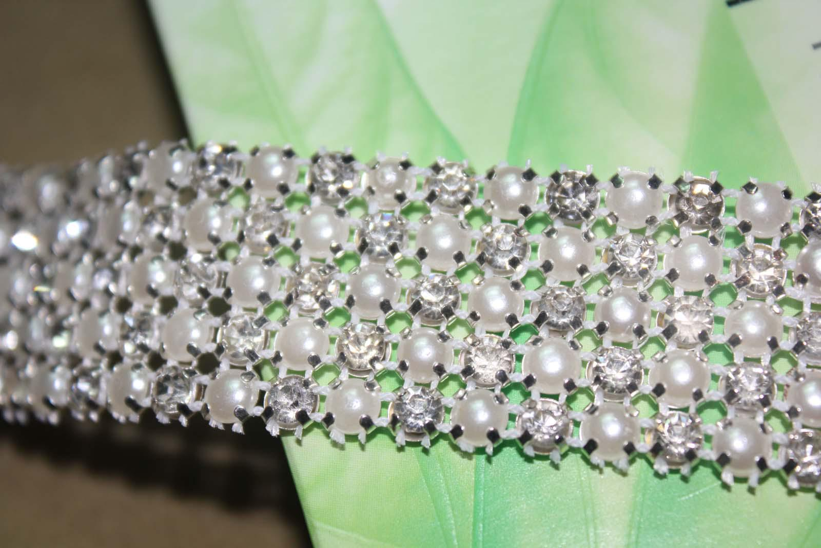 P4 1 Yard 5 Rows Diamond A Rhinestone en Pearl Bruiloft Cake Banding Trim Ribbon Deco
