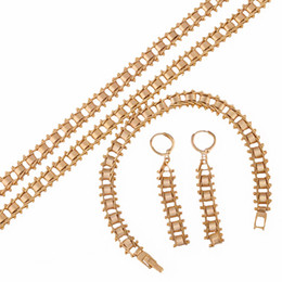 Wholesale Gold Filled Womens Necklace - (166S)High Quality Fashionable 18k Gold Filled Jewelry Sets for Womens Retro Style (Necklace Bracelet Earring)